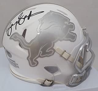 Barry Sanders Autographed Detroit Lions White Ice Mini Helmet Beckett BAS