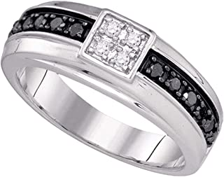 Jewels By Lux 10k White Gold Mens Black Color Enhanced Diamond Wedding Anniversary Band Ring 1/2 Cttw In Pave Setting (I2-I3 clarity; H-I color)