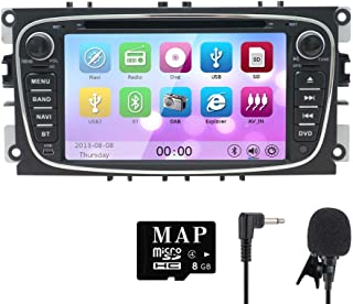 NVGOTEV Car Audio Stereo Headunit Fits for Ford Focus 2008 2009 2010 2011 DVD Player Radio 7 Inch HD Touch Screen GPS Navigation with Bluetooth Steering Wheel Control 8GB Map Card(Black