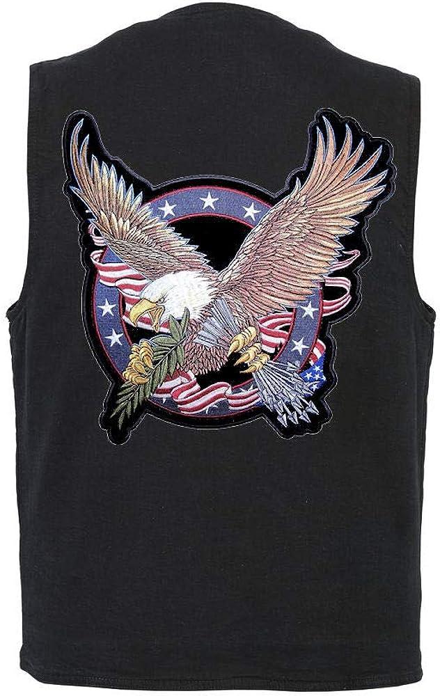 Leather Supreme Mens CC Denim Vest W Patriotic Eagle Crest Biker Patch
