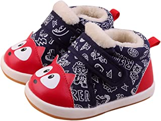 Baby Cotton Rubber Sole Cat Pattern Warm Outdoor Snow Boots First Walkers Shoes for Boys Girls12-30 Months