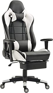 Gaming Chair with Footrest Video Game Chair Computer Gaming Chair Memory Foam Reclining Racing Desk Office Chair with Lumbar Support (White/Black with Footrest)