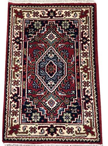 WAWA TEPPICHE Orientteppich Bidjar Handgeknüpft ROT Cream Teppich~ 100% Wolle (60 x 90 cm)