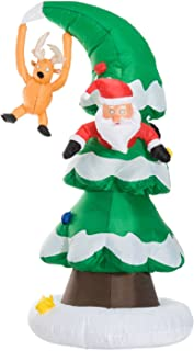 HOMCOM Inflatable Christmas Outdoor Lighted Yard Decoration, Santa Stuck in a Tree, 7' Tall