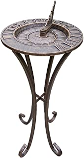 Metal Sundial Pedestal Base Legs Vintage Compass Decor Using Sun Standing Sun Dial Vertical Old Fashioned Clock Time Outdoor Antique Rustic Bronze, Iron 31.5 Inch