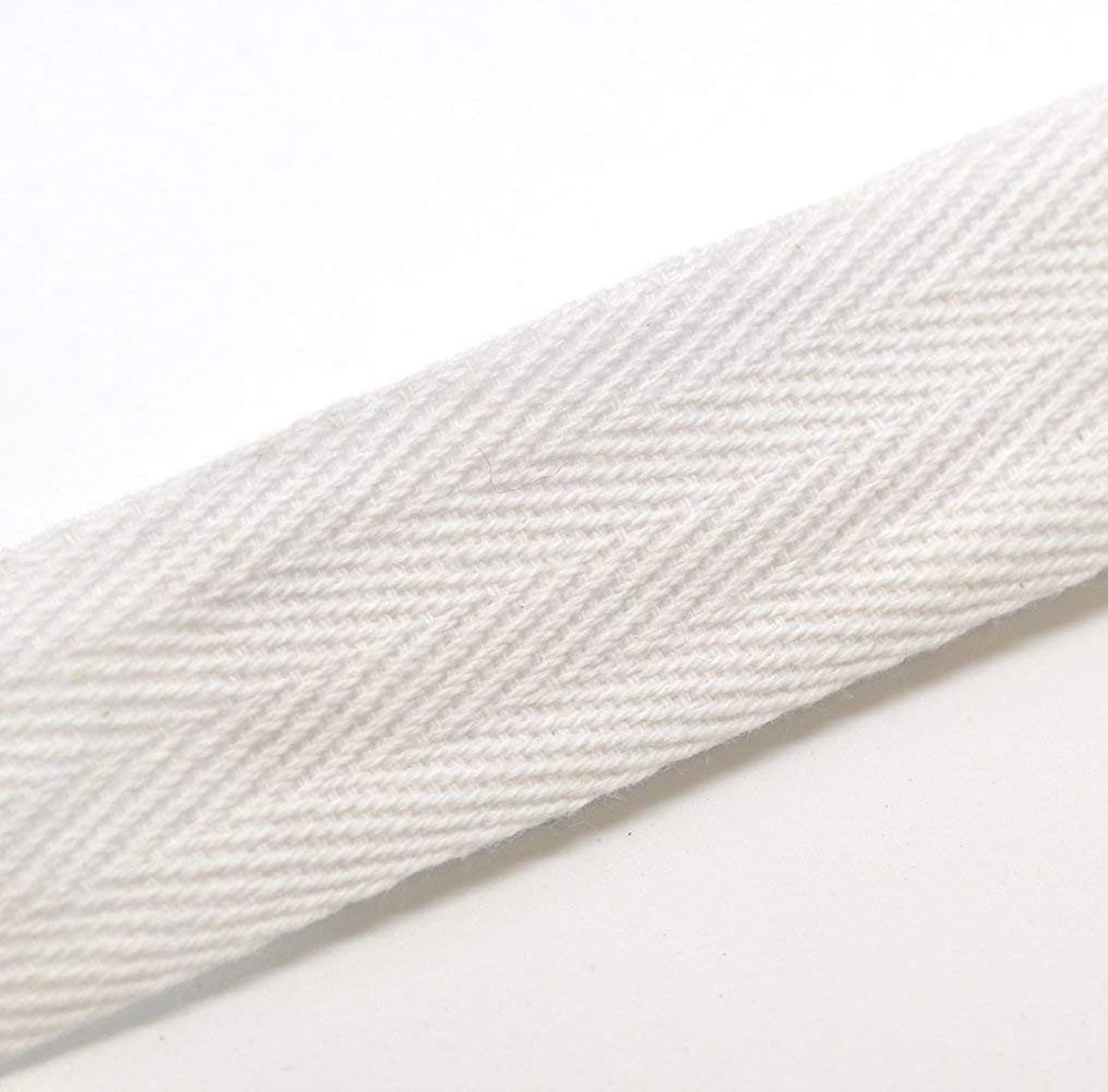QIANF Twill Tape Ribbon 100% Cotton White 1/2