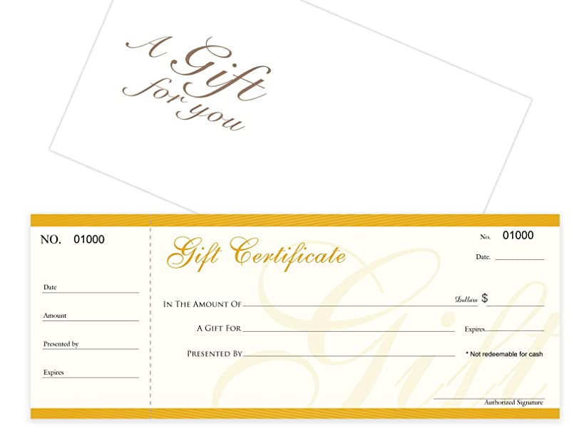 Blank Gift Certificates 25set, gift certificate for business,Comes with Free matching Envelopes, Sequential Numbering Printing-Spa,Eyelash, Makeup,Hair Beauty Salon,Restaurant,Small Business