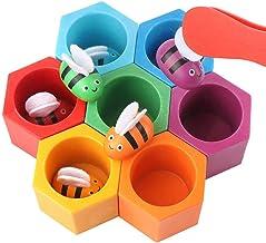 Juego De Abejas, Juguetes Montessori Puzzle Bloques De Madera Juegos Matematicos Para Niños, Colmena Color A Juego Rompecabezas Educativo Juguete Con Clip Para Niños 3 4 5 6 Años