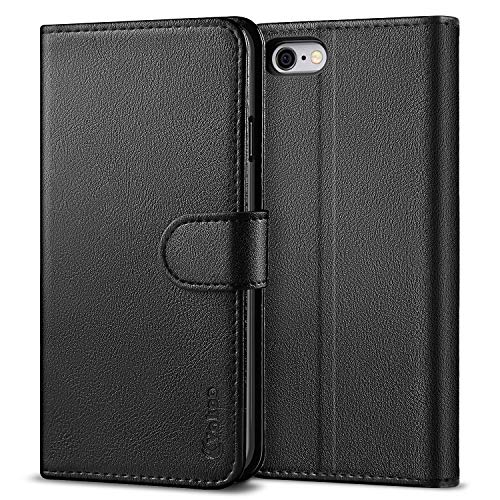 Vakoo für iPhone 6 Hülle, iPhone 6S Hülle, Book-Style Premium Leder Brieftasche Handytasche Schutzhülle Tasche Handyhülle für iPhone 6/6S - Schwarz