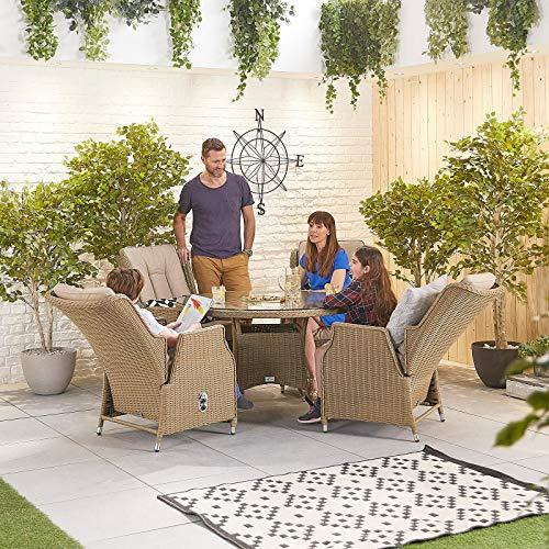 Nova Outdoor Living - Juego de comedor Carolina Outdoor de 4 asientos de ratán con mesa redonda de 1,2 m - Tejido de sauce medio redondo