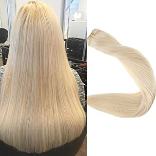 Full Shine 16 inch Hair Weft Extensions Double Wefted Full Head Remy Hair Human Sew in Hair Extensions Color #60 Plautinum Blonde 100gram Per Package