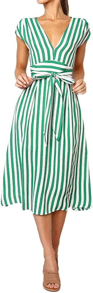 NREALY Dress Womens Casual Stripe Printing Off Shoulder Sleeveless Dress Princess Dress