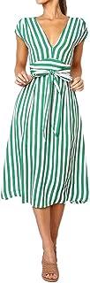 DMZing Vestido a Rayas para Mujer, Estilo Informal, Elegante, Cuello en V, sin Mangas, de Verano, con Sello Distintivo