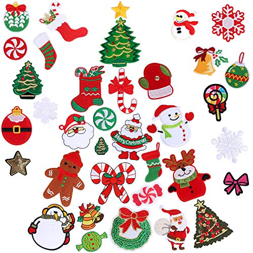 36pcs Christmas Iron on Patches Embroidered Sew Applique Repair Patch for Craft, Clothing, Decoration and DIY Christmas Gifts