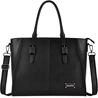 Best Laptop Bag for Women,15.6 Inch Computer bag Large Work Tote Bags Briefcase for Women(Black)