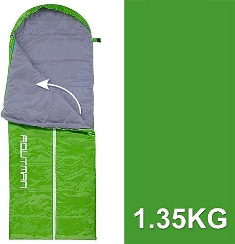 BXX Groupe familial Voyage Marchandises-Camping Camping Sac de couchage Printemps Eté épaissir Garder au chaud Coton Ultra-Léger portable Double Amoureux Adulte,Gauche verte