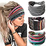 Earent Boho African Headbands Yoga Wide Knot Hair Bands Sweat Printed Headwraps Elastic Turban Headscarfs Multicolor Headwear Outdoor Hair Accessories for Women and Girls (Wide stripes)