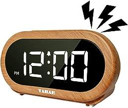 YABAE 目覚まし時計 置き時計 大音量 LED デジタル アラーム クロック スヌーズ機能明るさ調整 おしゃれ コンセント式 木目調 AL-01-MN