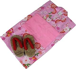 浴衣セット 女の子 ゆかた(絞桜?風車)ピンク(紅梅織り) 3点セット KWG-3 100/110/120/130cm