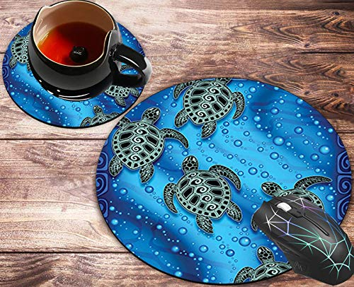 Round Mouse Pad and Coasters Set, Cartoon Turtle Art Mousepad, Anti Slip Rubber Round Mousepads Desktop Notebook Mouse Mat for Working and Gaming