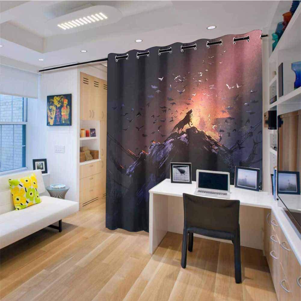 HouseLook Fantasy World - Cortina para puerta corredera de patio con diseño de fantasía de niña y tigre con dientes de sable y plantas mágicas galaxias, cortinas de puerta de cristal deslizantes,