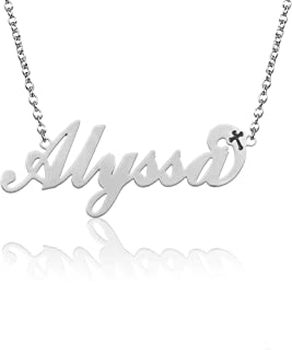 """BeautyName Personalized Name Necklace Stainless Steel with Chain 17""""+2"""" Extension- New Mom Bridesmaid Gift Jewelry for Women"""