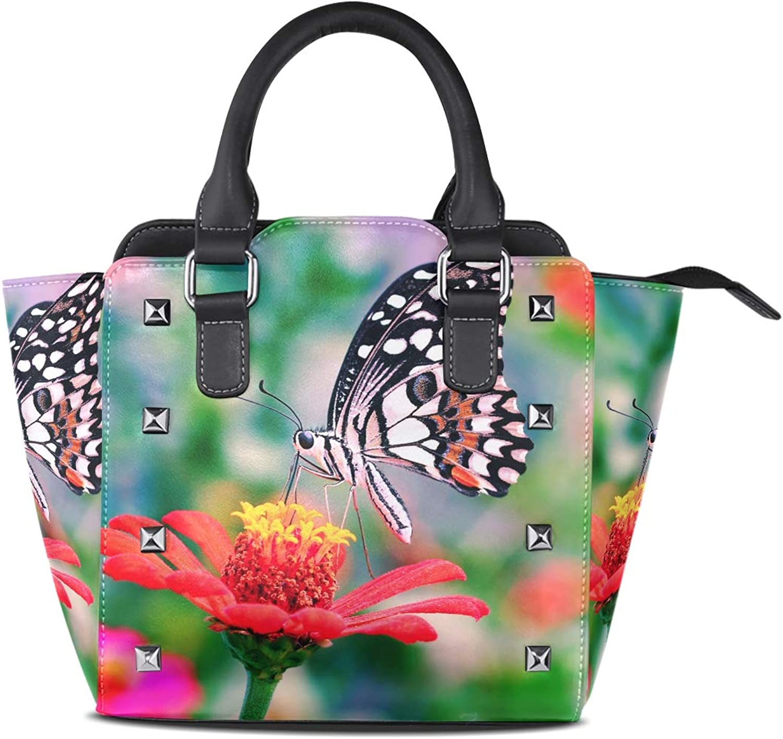 My Little Nest Women's Top Handle Satchel Handbag Butterfly Flower Ladies PU Leather Shoulder Bag Crossbody Bag