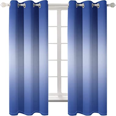 Epinki Polyester Curtains Blue Pure Color Simple Window Drapes and Curtains Living Room, Available in 21 Sizes, Size 264x214C