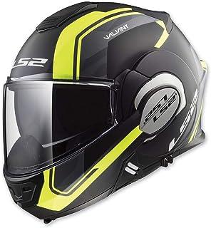 LS2 Helmets Modular Valiant Helmet (Line Matte Black/Hi-Vis - Medium)