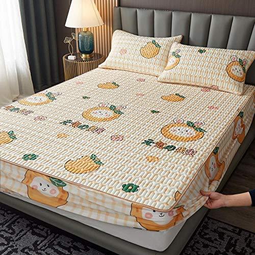 Lenzuolo con angoli in lattice leggero, super morbido, con tasca profonda, tappetino in lattice, per camera da letto, appartamento antiscivolo, 1 x 90 x 200 cm, colore: giallo