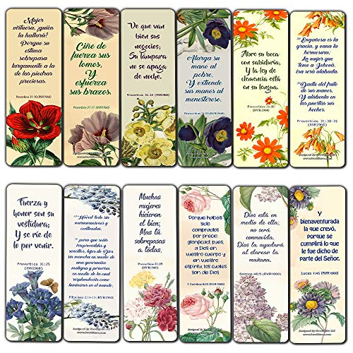 Spanish Virtuous Women Proverbs 31 Flower Bookmarks Scriptures Series 2 (60 Pack) - RVR1960 Perfect Gift for Sunday School Cell Group Church Women Ministry Supplies Stocking Stuffers