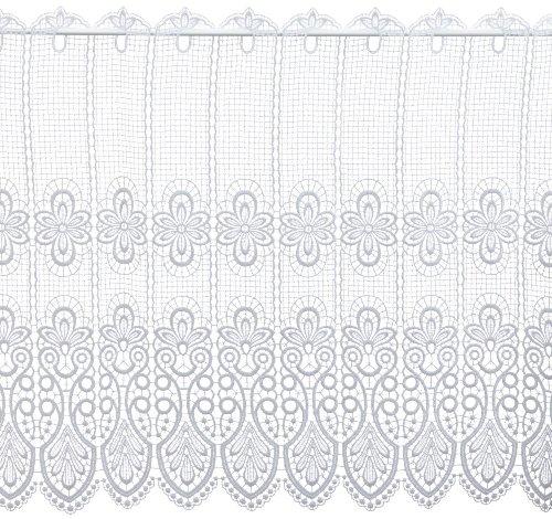 Plauener Spitze by Modespitze, Store Bistro Gardine Scheibengardine mit Stangendurchzug, hochwertige Stickerei, Höhe 62 cm, Breite 96 cm, Weiß