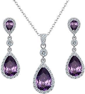 Clearine Damen 925 Sterling Silber Hochzeit Braut Cubic Zirconia Unendlichkeit Tropfen Anhänger Halskette Dangle Ohrringe Schmuck Set