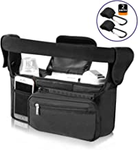 Baby Stroller Organizer Jogger Accessories with Cup Holder,Non-Skid Wide Velcro, Fits All Strollers, Bonus Two Packs Stroller Hooks for Moms