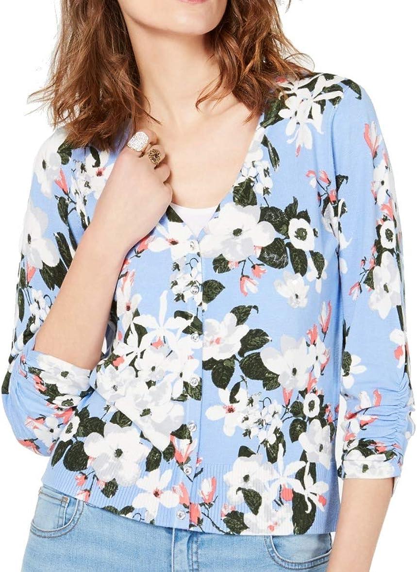INC Womens Light Blue Floral Long Sleeve Open Cardigan Top Size XL