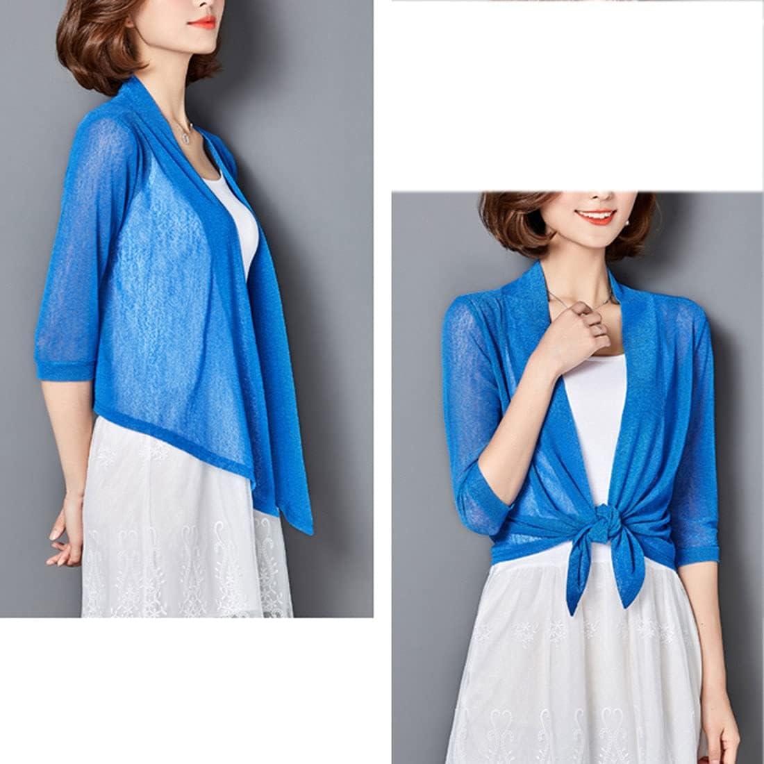 FindThy Women's 1/2 Sleeve Lightweight Tiefront Cardigan Sheer Dots Bolero Shrug Knitwear