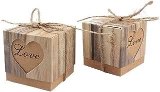 Kaptin 50 Pack Candy Favor Boxes Vintage Kraft Bonbonniere with Burlap Twine, Love Heart Imitation Bark Gift Bag for Wedding Birthday Bridal Party Shower Decoration