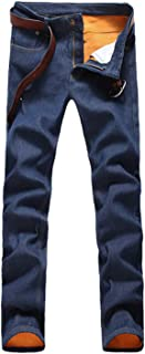 Men's Winter Warm Fleece Lined Down Slim Fit Thicken Elastic Jean Pants
