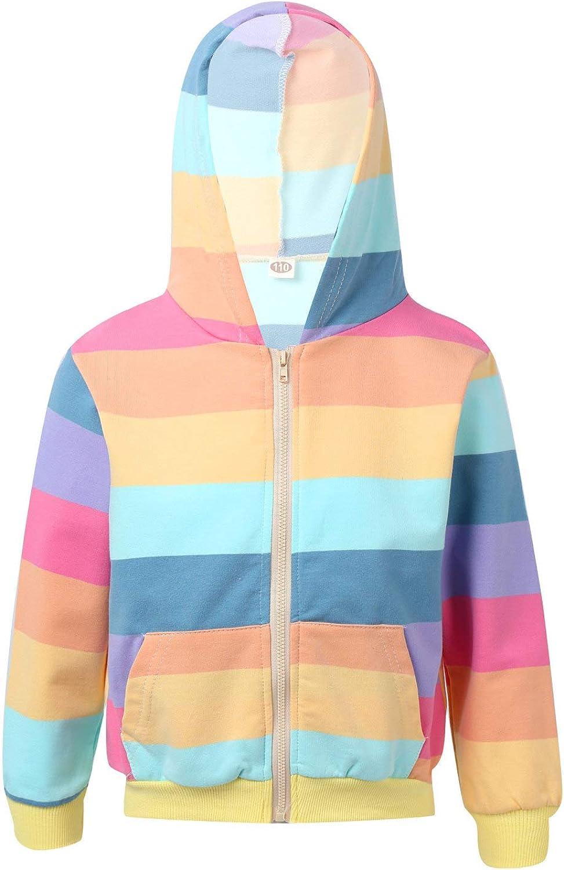 JEATHA Kids Girls Fashion Rainbow Stripe Sweatshirts Long Sleeve Hoodies Block Print Front Zipper Closure Cardigan Coat Top