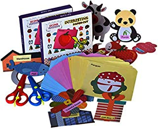 QCZKB Fun Paper-Cut Set,Scissor Activity Cutting Book,Gift Craft Paper Set Kids Toys 100pageswith 2 Pair of Child-Safe Scissors&1 Pcs Double-Sided Tape Adhesive Sticky(100pages,Pack of 2)