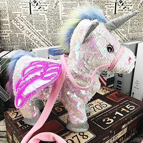 Caminata y Canto eléctrico Unicornio de Peluche de Juguete de Peluche Pegasus Pony Toys 35 cm Música Unicornio de Juguete para niños (Sequin White)