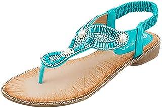 WINJIN Sandales Plates Strass Femme, Nu-Pieds Vintage Sandales Boho Sandales de Plage Chaussures Plates Ete Chaussons Femm...