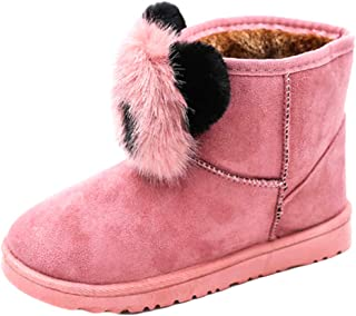Aiweijia Women's Snow Boots Winter Wild Plus Velvet to Keep Warm Panda Artificial Hair Ball Panda Short Tube Cotton Boots