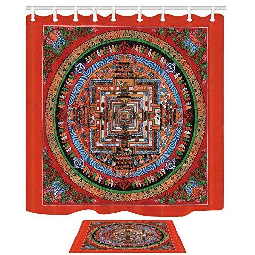 KOTOM Mandala Décor Mandala Tribal Tibétain Motif de Guérison Avec Floral Géométique Ombre Art Contre Rideaux de Douche Fond Rouge Définie Par Rideaux De Bain 69X70 Pouces Tapis De Sol Intérieur Tapis De Bain 60x40cm
