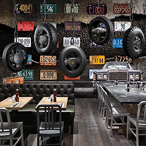 Papel tapiz de tamaño personalizado Mural Placa de matrícula Retro 3D Neumático Pared de cemento Ktv Bar Decoración de fondo y tela de seda de restaurante impermeable 250x175cm