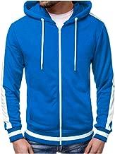 Kaniem Fashion Zip Up Hoodie Jacket,Mens Casual Stripe Pocket Sport Hooded Sweatshirt Coat