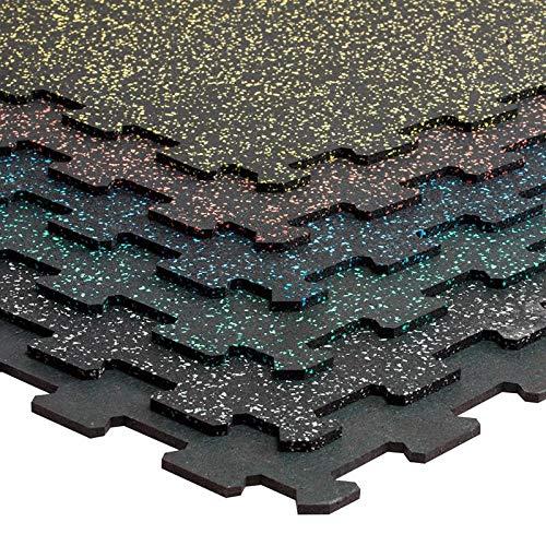 Loseta caucho tipo puzzle gimnasios 100x100cm Premium entrenamiento (Puzzle 4 mm negra...
