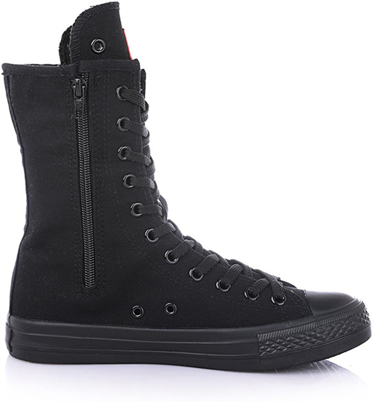 Gusha Women's high-top Canvas shoes Rivets Casual shoes Side Zipper