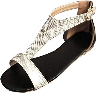 GRIPY Sandals for Women Open Toe Breathable Beach Buckle Strap Sandals Rome Casual Flat Shoes Dress Sandals Women