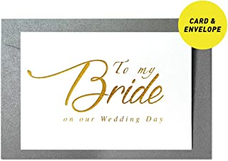 Ihopes Wedding Day Foiled Card | To My Bride on Our Wedding Day Gold Foil Cards with Envelopes | Bride Card | Wedding Vow Card with Gold Foil | Bride Gift from Groom